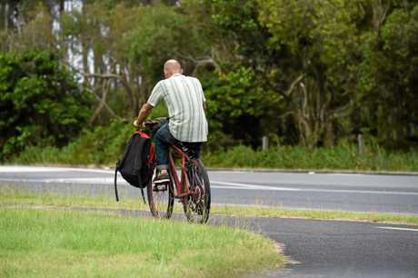 Cyclists riding in Byron Bay without helmets. Photo The Northern Star