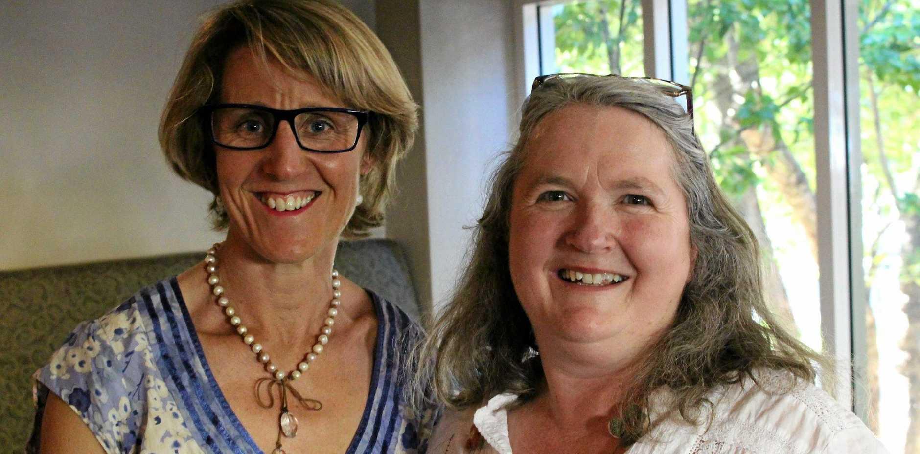 Author Emily Martin (left) celebrates with project manager Jo Eady.