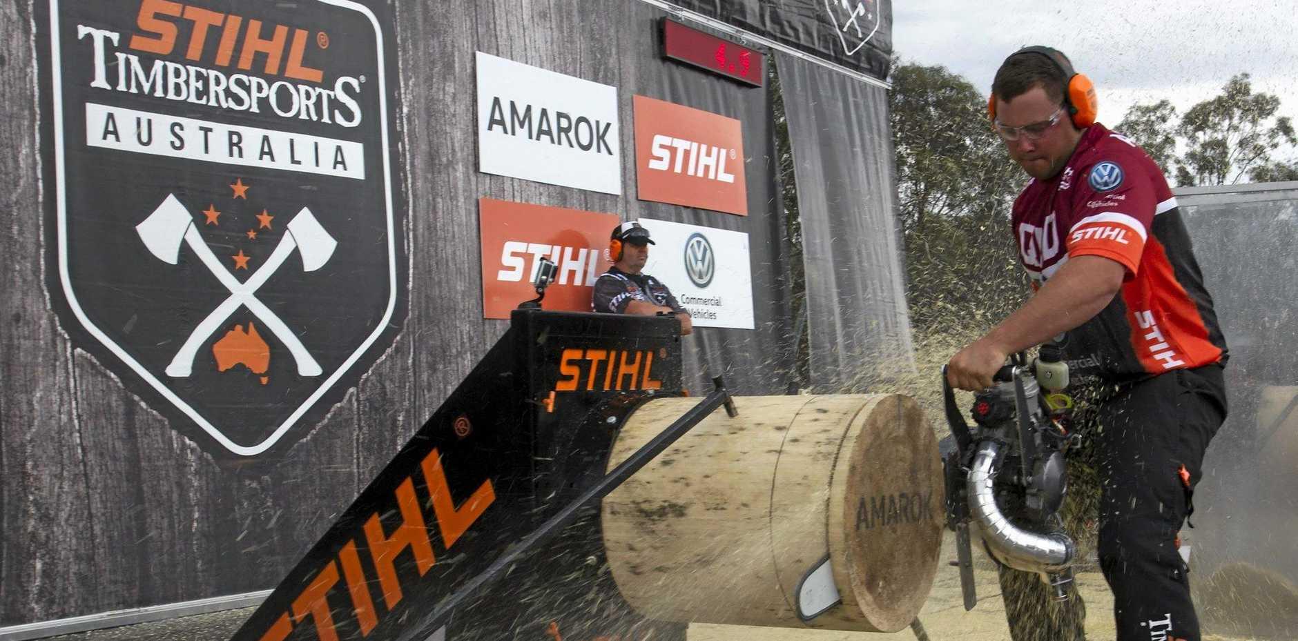 HARD YAKKA: Mitch Argentat the 2015 Australian Timbersports Championships.