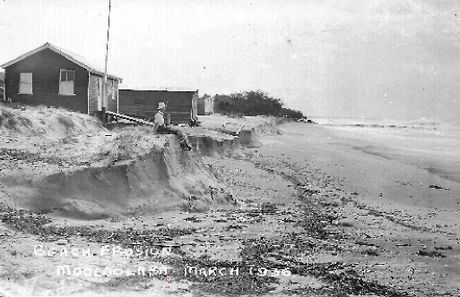 Beach erosion 1936, the lifesavers' clubhouse nearly lost.