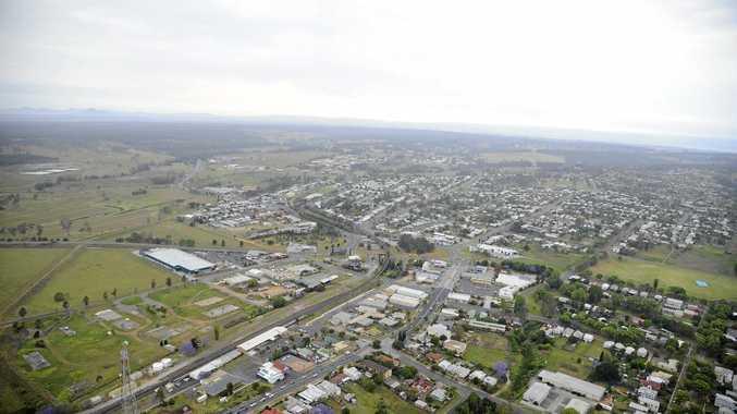 Aerial view of South Grafton at Jacaranda time. Photo JoJo Newby / The Daily Examiner