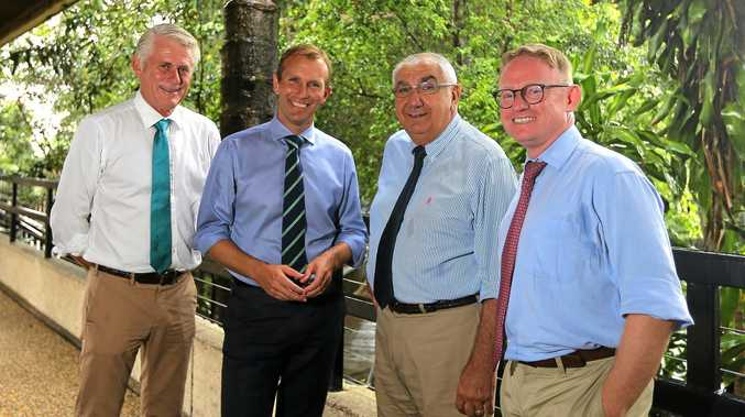 Tweed MP Geoff Provest, Planning Minister Rob Stokes, Lismore MP Thomas George, and MLC Ben Franklin at the Murwillumbah Council Chambers on Wednesday.