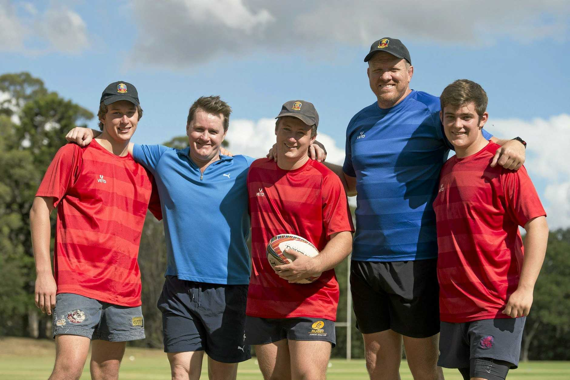 TRAINING GUEST: Former Wallaby Elton Flatley (second from left) with Downlands First XV squad members (from left) Henry Houghton, Jack Daly and Isaac O'Dempsey and director of rugby Garrick Morgan.