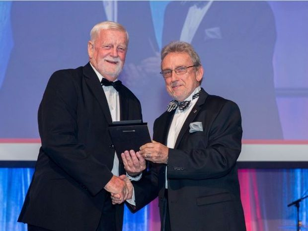 Ron Lane accepts the award for Noosa