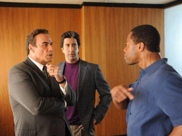 John Travolta, David Schwimmer and Cuba Gooding Jr in The People V OJ Simpson: American Crime Story.