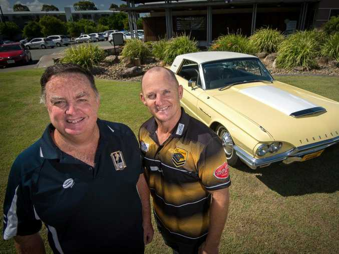 Dennis McGuire and Kerrod Walters launch at Pelican Waters Tavern for the inaugural men of League motoring Event. A fundraiser for a ride with old cars kicking off in April. Photo Patrick Woods / Sunshine Coast Daily