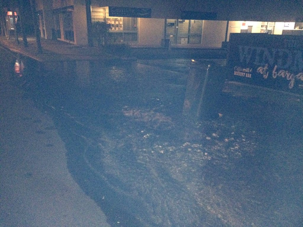 Flooding in See St Bargara early this morning caused by a burst water main.