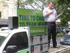 Michael McMillan makes mayor pitch from the back of a ute