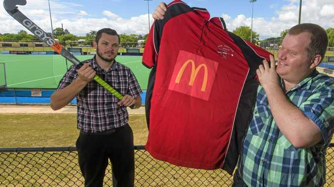NEW SPONSOR: Area manager of McDonalds Grafton David Atheron with president of Avros John Neilson at the Grafton Hockey complex.