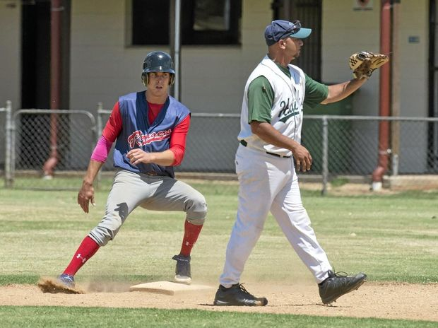Ty Paddock makes it to first base safely against Beenleigh in their January Pacific League meeting at Commonwealth Oval.