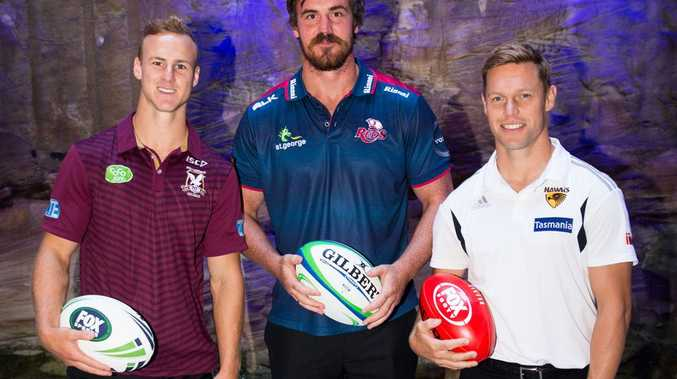 Manly's Daly Cherry-Evans, Wallaby Kane Douglas and Hawthorne's Sam Mitchell pictured at the Fox Sports 2016 launch.