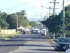 Police at the scene of a fatal shooting in Booval on Friday morning.