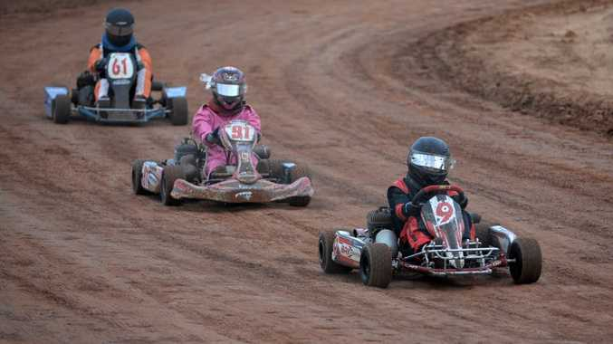 JUNIOR KARTS: Heath Parker, Zoe Smith and Cody Reynolds placed first, second and third in their junior karts heat at Carina Speedway. Photo: Mike Knott / NewsMail