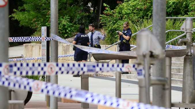 Police investigate after a man was stabbed by a woman at the popular Ipswich River Heart Parklands infront of dozens of families. Photo: David Nielsen / The Queensland Times