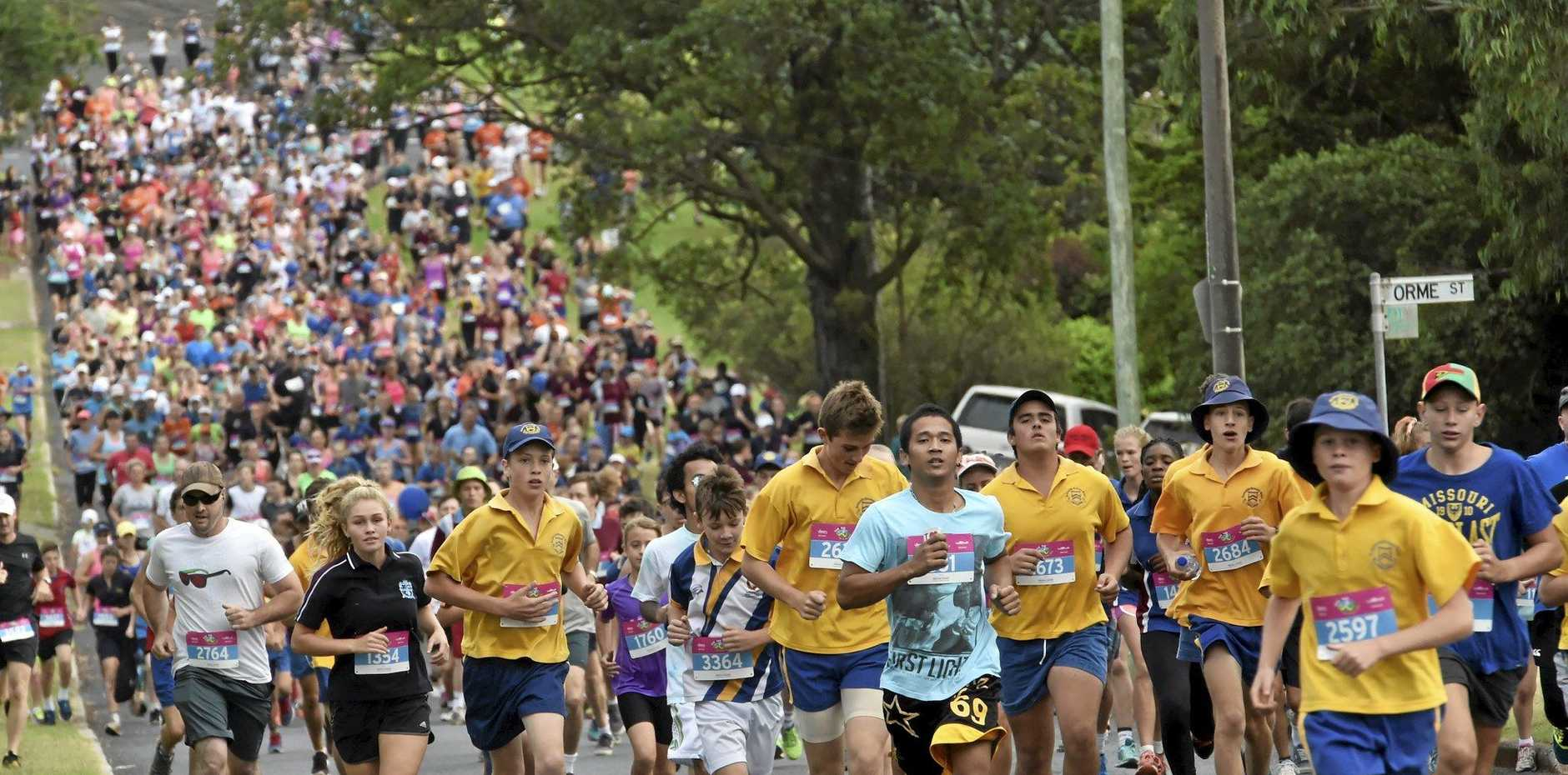 Runners taking part in the 4km funrun coming down Leslie Street.