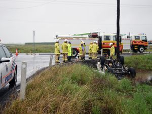 Ute rolls into ditch in Hamilton Plains