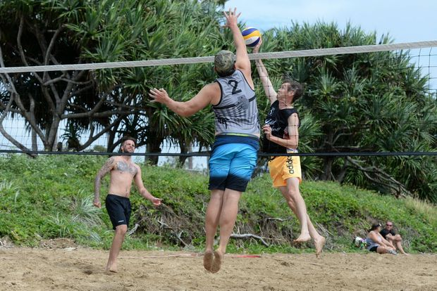 BEACH VOLLEYBALL: Jarrod Cash and Andrew Elliott competing in the Queensland Beach Volleyball tour at Nielson Park Beach. Photo: Mike Knott / NewsMail