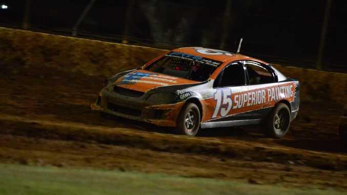 Max Clarke won the third round of the modified sedan IBRP Golden Helmet Series.Photo Keagan Elder / South Burnett Times