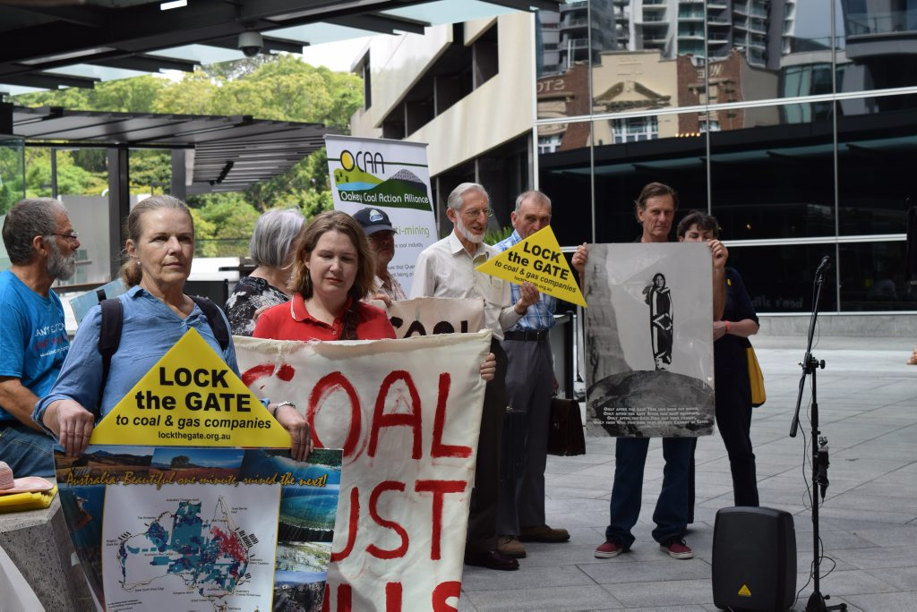Anti-mining protesters outside the Brisbane Magistrates Court. Photo Contributed