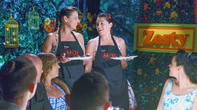 My Kitchen Rules contestants Hazel and Lisa pictured during their instant restaurant redemption in Brisbane.