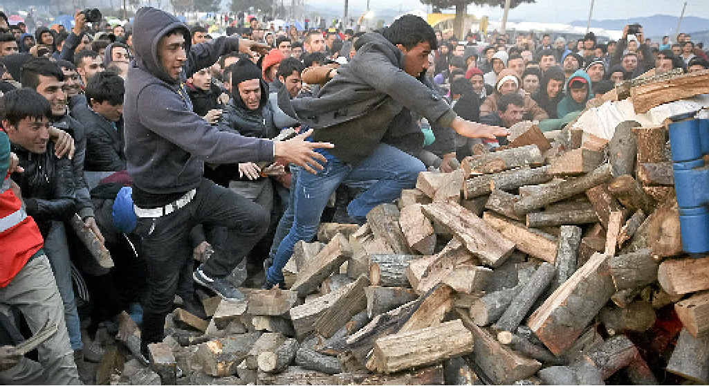 DESPERATE: Migrants mob a truck bringing donated firewood to a northern Greek border station.