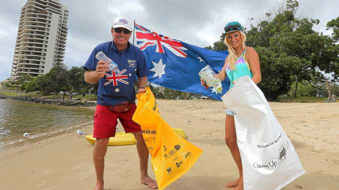 Trevor 'Big Trev' Arbon from Big Trev's Watersports and Coolangatta resident Gigi Law are keen to clean up Tweed Heads for Clean Up Australia Day this Sunday.