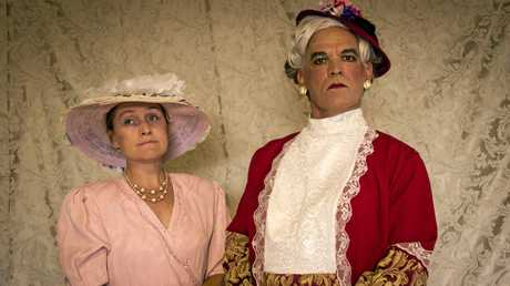 Natasha Wolfe as Gwendoline and Graham Scott as Lady Bracknell in Murwillumbah Theatre Company's production of Oscar Wilde's The Importance of Being Earnest.