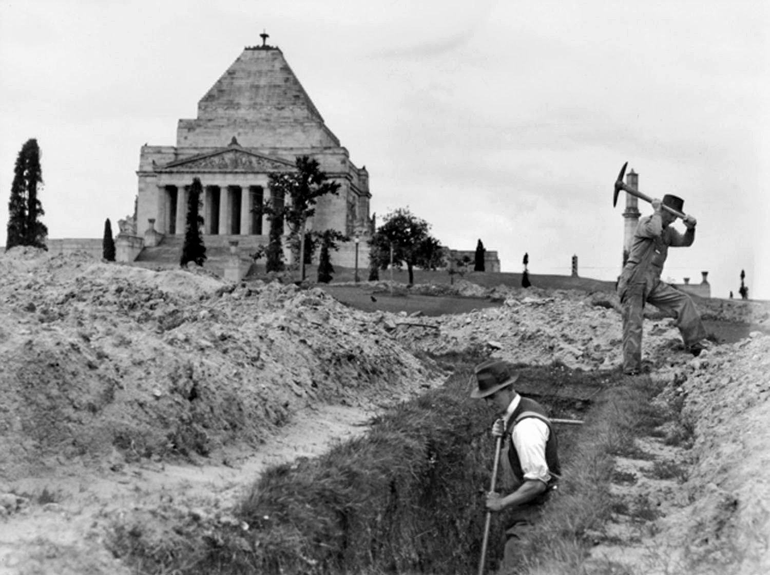 PREPARATIONS: AsSlit trench being built near the Melbourne Shrine of Remembrance.
