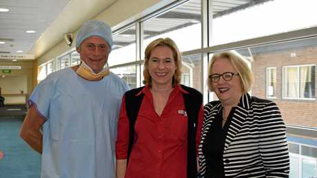 Tweed MP Geoff Provest with Nurse Unit Manager Fran Hofstee and Executive Director Tweed Byron Health Service Group Bernadette Loughnane, on Friday. Ms Hofstee will design patient flows through the surgical ward.