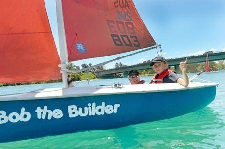 RIGHT: Lauren Grimwood, of Banora Point High School, enjoys her taste of sailing.