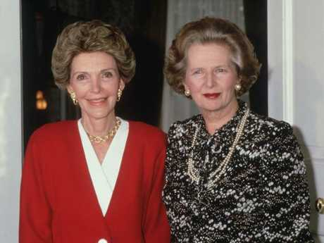Nancy Reagan with Margaret Thatcher during a visit to Number 10 in 1986.
