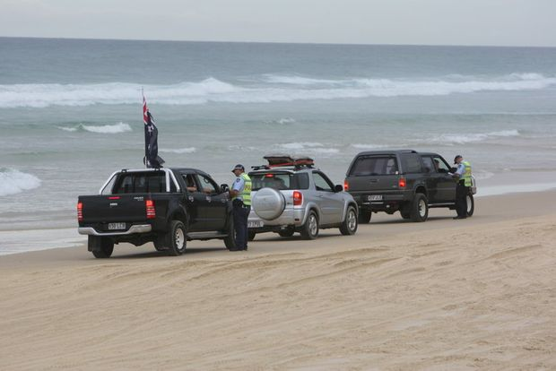 Police conduct Random Breath Testing on Teewah Beach. FILE PHOTO