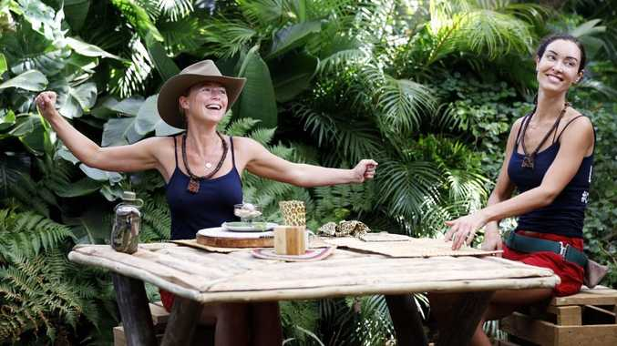 Jo Beth Taylor and Laurina Fleure pictured during a tucker trial on I'm A Celebrity... Get Me Out of Here!