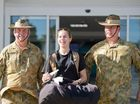BREAKING RANKS: New recruit Rebecca Dunnett, 19 is the first woman in Queensland to successfully enlist as an infantry soldier in the Army Reserves and will serve under Major Ed Dahlheimer and WO2 Raymond Hemmings. Photo Mike Richards / The Observer