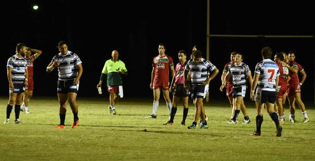 GONE: Past Brothers's Metui Kalekale is sent off by referee Mark Staib. The interchange forward allegedly made contact with Staib after the official awarded Hervey Bay a penalty.