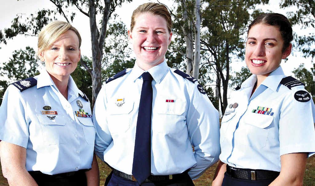 LEADING THE WAY: Warrant Officer Fiona Grasby, Leading Aircraftwoman Tegan Bowden and Flight Lieutenant Shamsa Lea celebrate International Women's Day at RAAF Base Amberley.