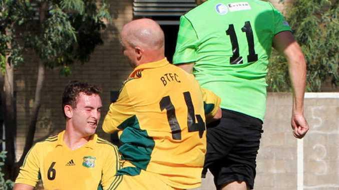 Eagles striker Chris Miller was a target up front all game for his side.