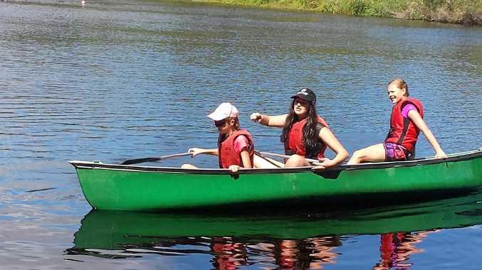 Canoeing around Lake Ainsworth.