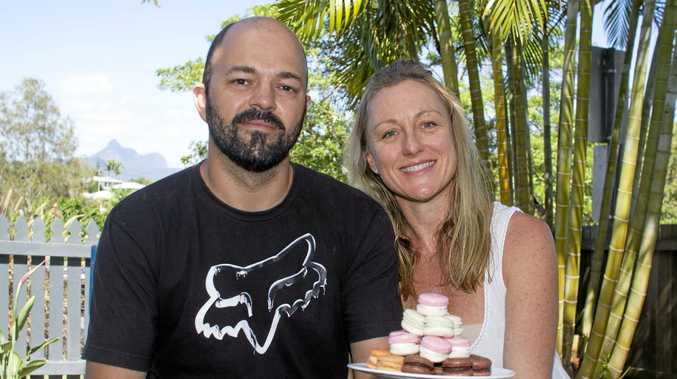 Love in Blossom  owners Ben and Stephanie Leonardi with their award-winning macarons.
