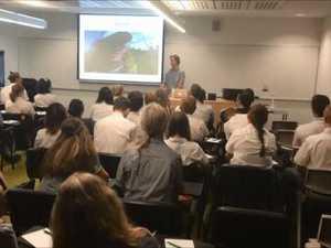 Australia's Bear Grylls talks to students