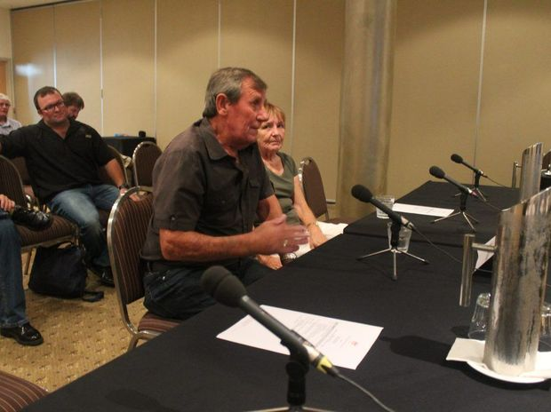 Black lung victim Keith Stoddart and wife Danielle giving evidence at the Senate inquiry into the return of the disease in Queensland coal mines.