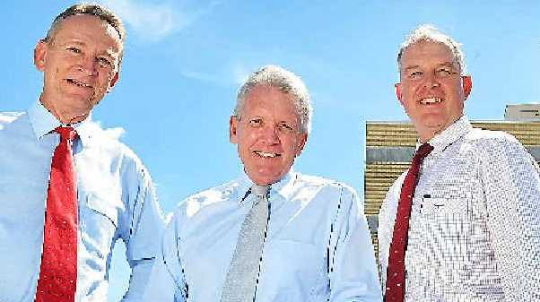 IMPROVEMENTS NEEDED: Shadow Health Minister Mark McArdle visited Gympie Hospital recently with MP Tony Perrett and health boss Kevin Hegarty.