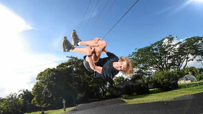 Maxim Murray-Prior, 15, of Richmond Hill, is wanting more people to get started in Parkour in the local area. Photo Marc Stapelberg / The Northern Star