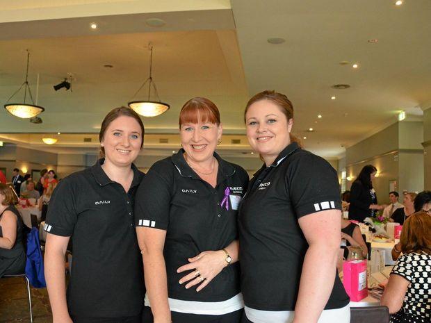 Lauren Kelly, Vicki Yarrow and Danielle Williamson at the Queensland Trucking Association International Women's Day breakfast.