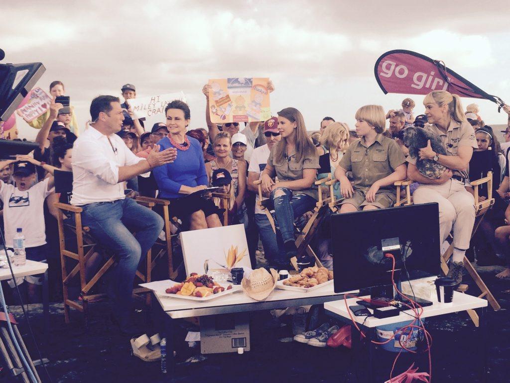 Bindi, Robert and Terri Irwin join the Today Show at Mooloolaba Beach. 10.03.16