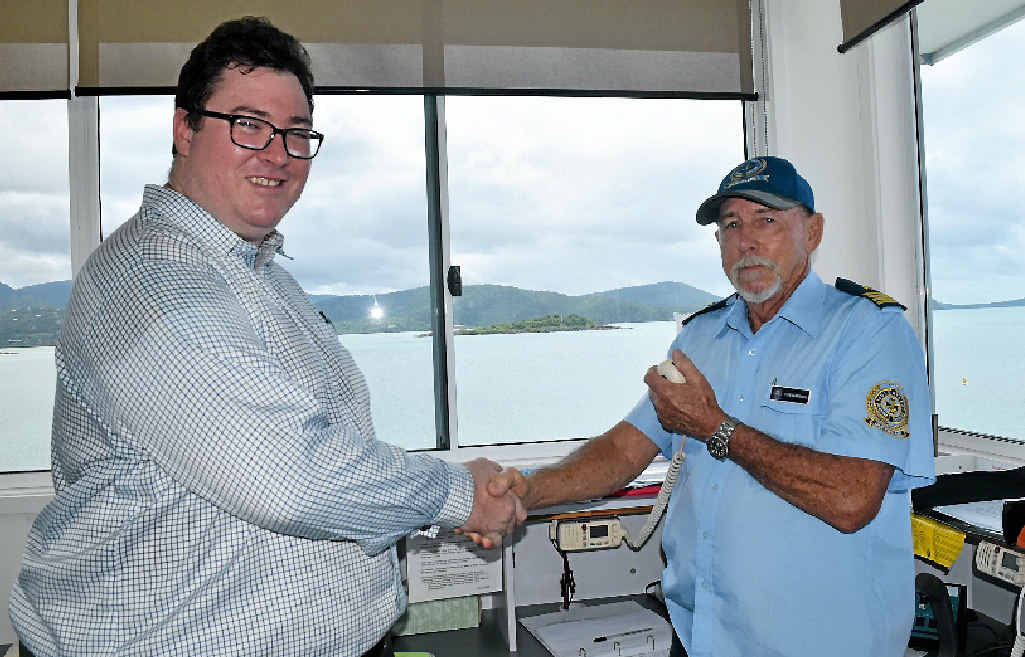 APPLICATION SUCCESSFUL: Federal Member for Dawson George Christensen with VMR committee member Tom Manning. Photo: Kathryn Cygan