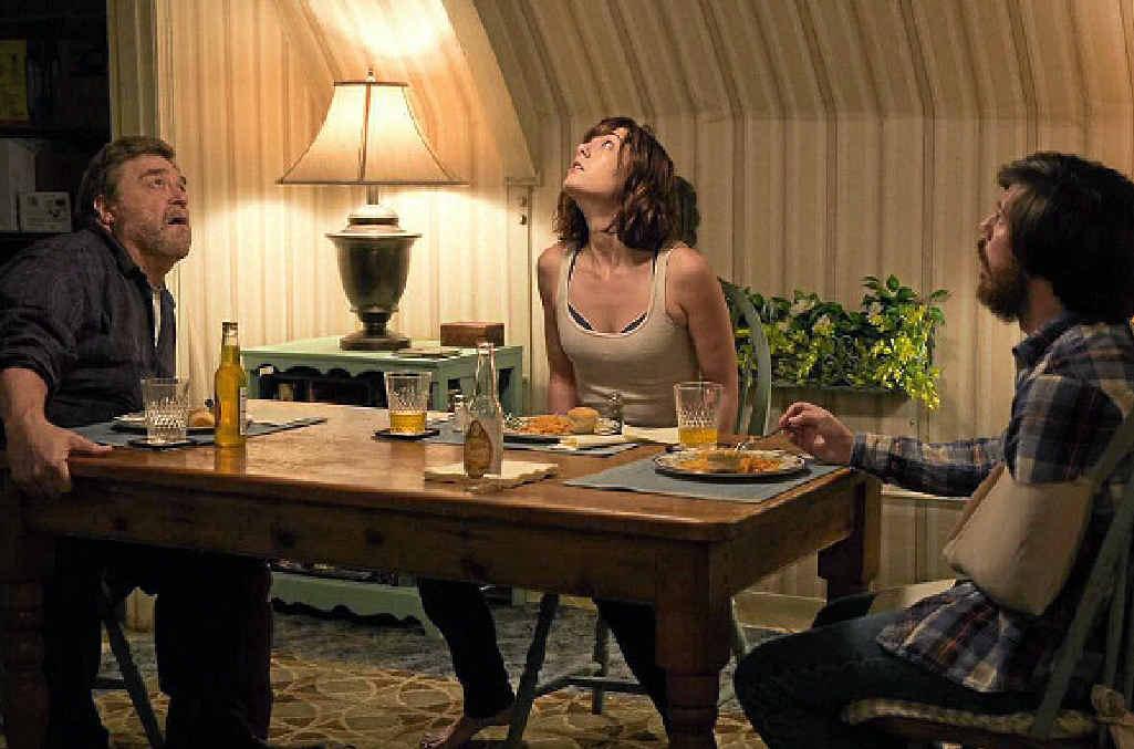 John Goodman, Mary Elizabeth Winstead and John Gallagher Jr in a scene from 10 Cloverfield Lane.