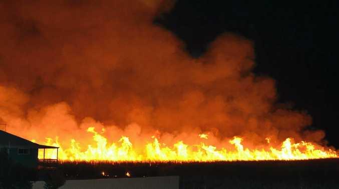 ON FIRE: Sugarcane burning ahead of harvesting at Woodburn.