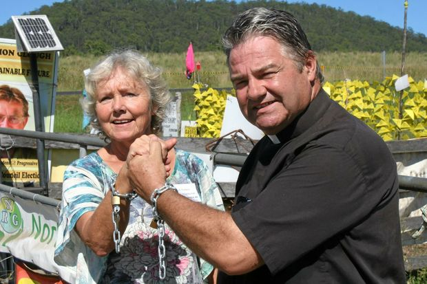 "LOCK DOWN: Bentley farmer Meg Nielsen and Kyogle Reverend Jim Nightingale, could have been forcibly removed and arrested and their ""lock ons"" seized at the Bentley blockade under a new bill proposed by NSW government."