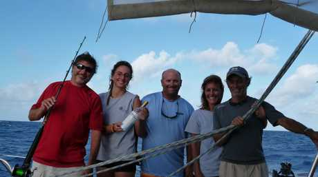 The 'Vivo' crew right before the bottle release in 2014. From left; Mike Roberts (Captain), Iris Jeusel, Kyle Coopman, Merc and Bob Cave.